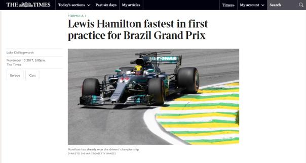 Lewis Hamilton The Times
